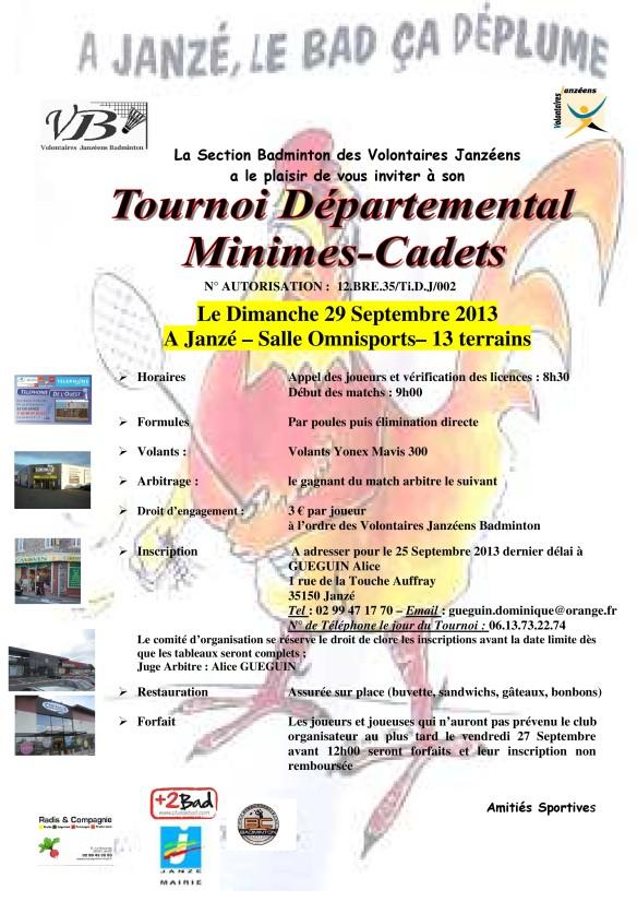 Invitation Tournoi TDJ Minimes Cadets Janzé du 29-09-2013